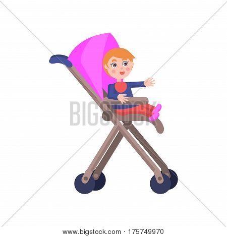 Toddler with red hair sits in pink baby carriage, smiles and lend hand on white background. Cartoon toddler icon. Happy childhood. Mother Day toddler collection isolated vector illustration.