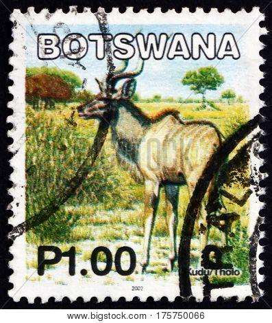 BOTSWANA - CIRCA 2002: a stamp printed in Botswana shows Greater kudu tragelaphus strepsiceros antelope circa 2002