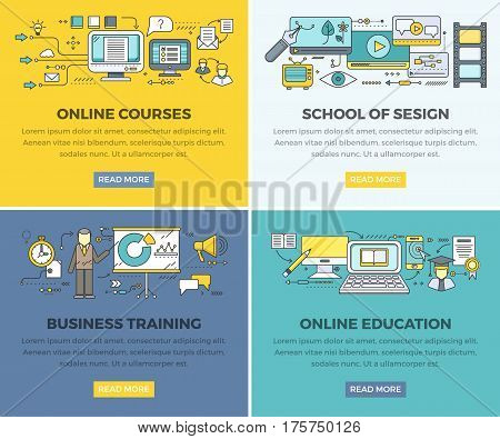 Online education courses web banners set. Business training and school of design square line art vector concepts with people pictogram and internet technology icon for educational company landing page