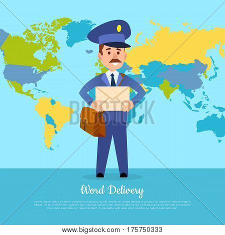 World delivery banner with postman. Mailman in suit holding envelope stands near world map. Express delivery to any part of world. First class messenger vector illustration in cartoon style