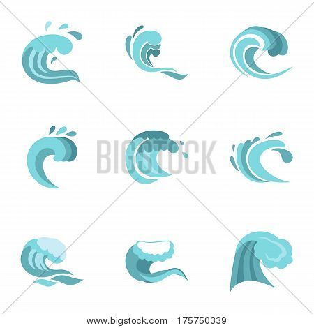 Big blue tide icons set. Flat illustration of 9 big blue tide vector icons for web