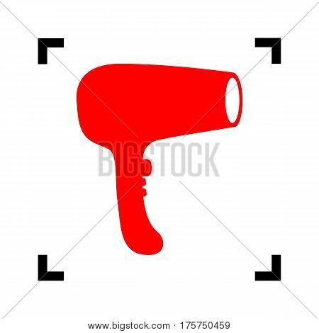 Hair Dryer sign. Vector. Red icon inside black focus corners on white background. Isolated.