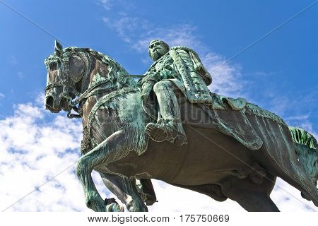 The monument of Knez Mihailo in Belgrade over blue sky