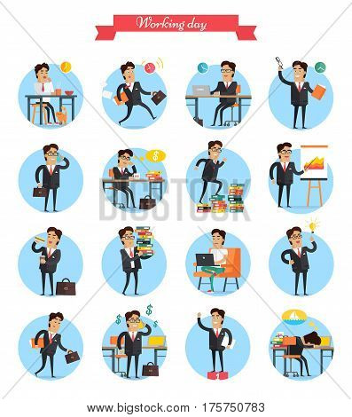 Working day busy template vector collection on white. Man work hard during day, earns money, present charts, have lunch, get ideas, win and exhausted dreams about holidays on tropical beach.