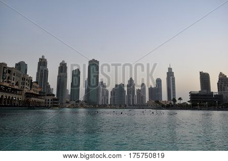 Panorama Of Modern Skyscrapers In Dubai City,dubai,united Arab Emirates