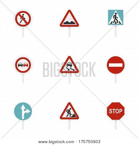 Road sign icons set. Flat illustration of 9 road sign vector icons for web