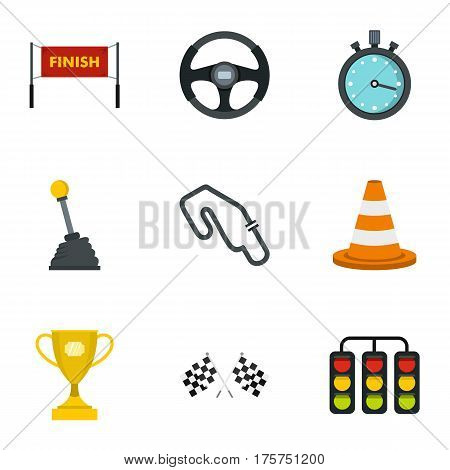 Motor race icons set. Flat illustration of 9 motor race vector icons for web