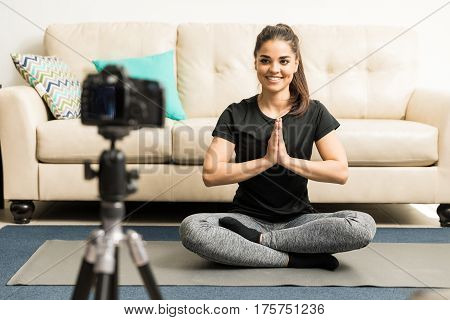 Cute Fitness Blogger Doing Some Yoga