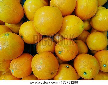 Large Fresh Navel Oranges in supermarket for background
