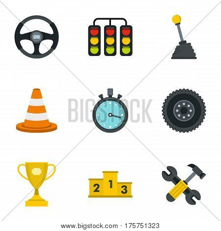 Car racing icons set. Flat illustration of 9 car racing vector icons for web