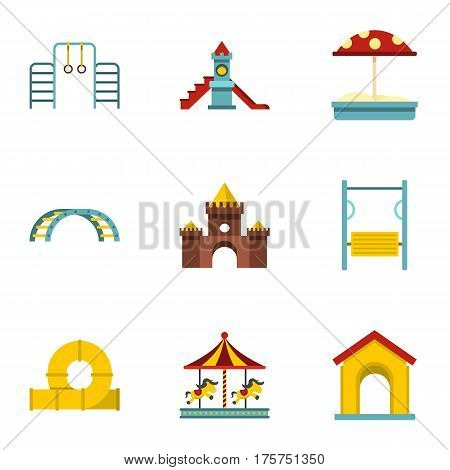 Kids playground icons set. Flat illustration of 9 kids playground vector icons for web