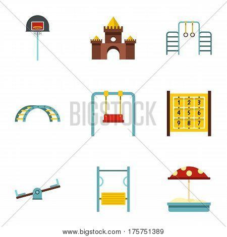 Kindergarten playground icons set. Flat illustration of 9 kindergarten playground vector icons for web