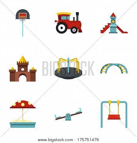 Playground equipment icons set. Flat illustration of 9 playground equipment vector icons for web