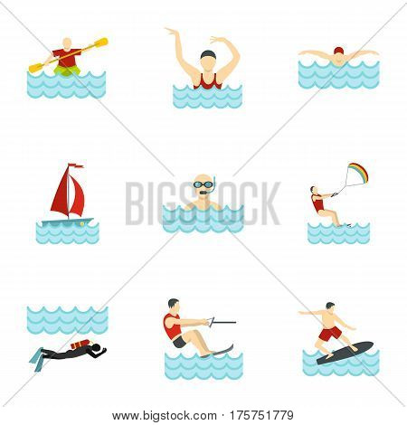 People swimming, sailing, jumping to water icons set. Flat illustration of 9 people swimming, sailing, jumping to water vector icons for web