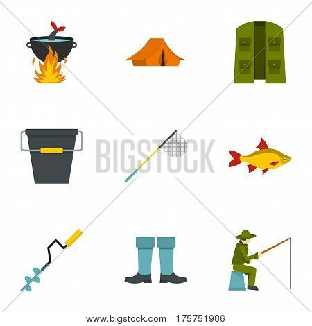 Fisherman equipment icons set. Flat illustration of 9 fisherman equipment vector icons for web
