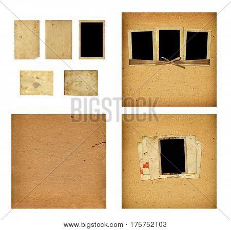 Set Of Old Albums With Paper Vintage Frames