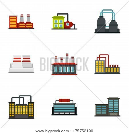 Manufacturing plant icons set. Flat illustration of 9 manufacturing plant vector icons for web