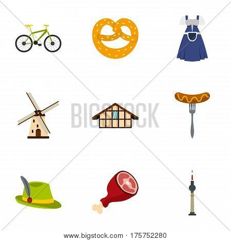 Culture features of Germany icons set. Flat illustration of 9 culture features of Germany vector icons for web