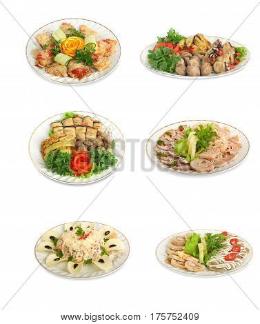 Set Of Festive Meals Of Meat And Vegetables  Isolated