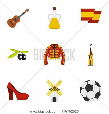 Spanish culture symbols icons set. Flat illustration of 9 Spanish culture symbols vector icons for web