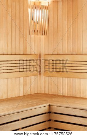 Interior Of Wooden Sauna For Relaxation And Recovery