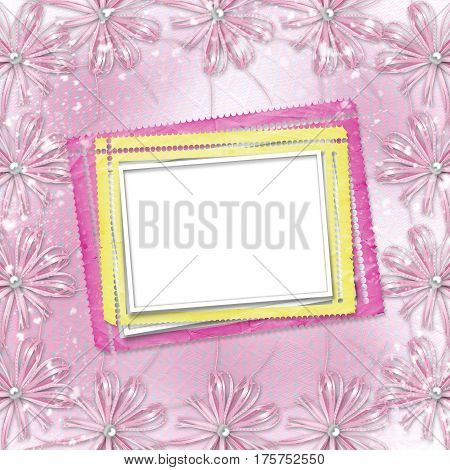 Pink Card For Invitation Or Congratulation With Frame