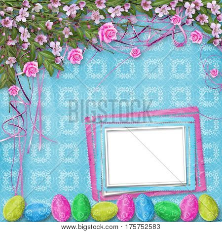Pastel Background With Eggs And Roses To Celebrate Easter