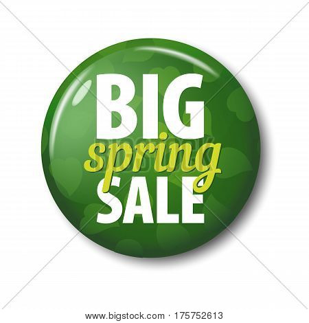 Bright Green Round Button With Words 'big Spring Sale'
