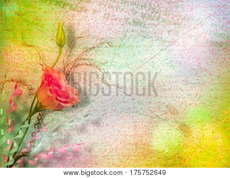 Vintage Postcard For Invitation With Bunch Of  Roses