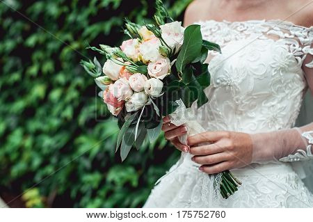 bride in a luxurious wedding dress with lace holding wedding bouquet made of roses. green wall of grape in a background