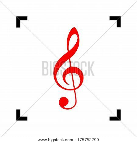Music violin clef sign. G-clef. Treble clef. Vector. Red icon inside black focus corners on white background. Isolated.