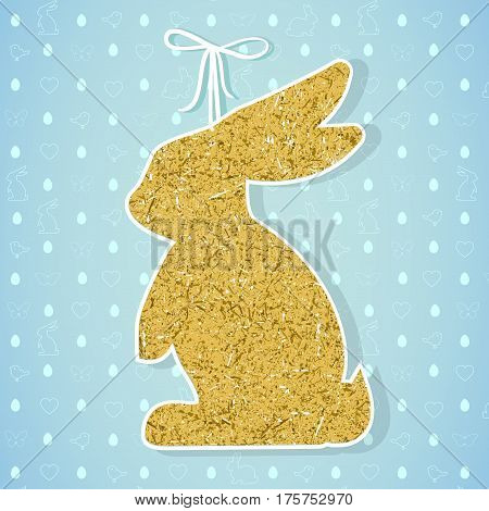 Easter paper decoration in the form of bunny. Easter golden bunny and seamless pattern with holiday symbols rabbits, eggs, birds, hearts, butterfly for invitations, posters and easter cards