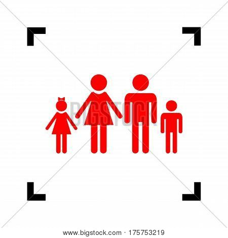 Family sign illustration. Vector. Red icon inside black focus corners on white background. Isolated.