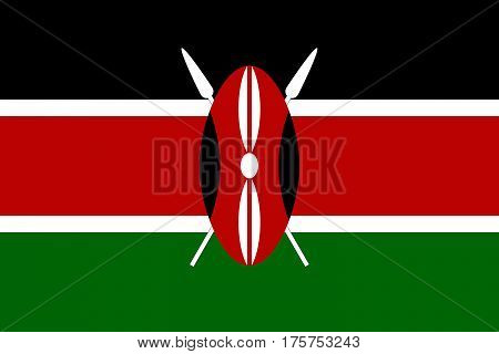Official vector flag of Republic of Kenya .