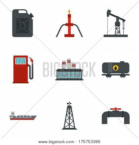 Gasoline processing icons set. Flat illustration of 9 gasoline processing vector icons for web