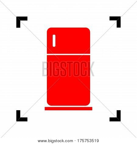 Refrigerator sign illustration. Vector. Red icon inside black focus corners on white background. Isolated.