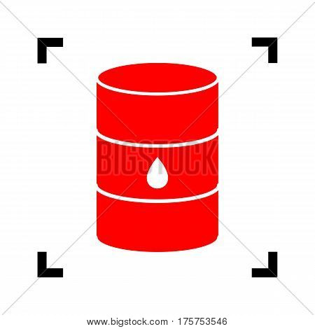 Oil barrel sign. Vector. Red icon inside black focus corners on white background. Isolated.