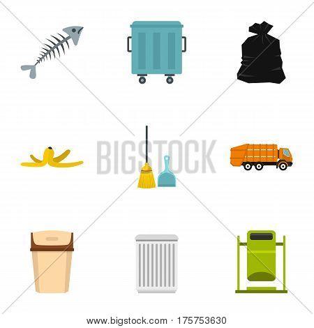 Waste utilization icons set. Flat illustration of 9 waste utilization vector icons for web