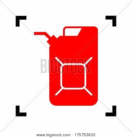 Jerrycan oil sign. Jerry can oil sign. Vector. Red icon inside black focus corners on white background. Isolated.
