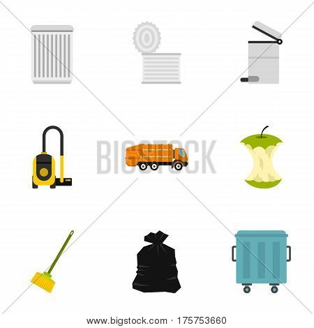 Waste icons set. Flat illustration of 9 waste vector icons for web