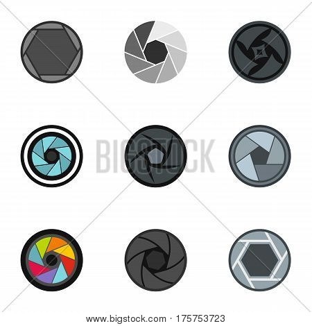 Camera lens aperture icons set. Flat illustration of 9 camera lens aperture vector icons for web