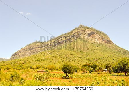 Hill in the Savannah of Tsavo West Park in central Kenya