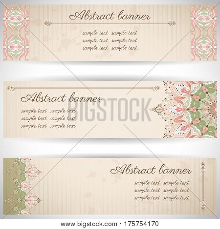 Set Of Three Horizontal Banners. Oriental Pattern And Old Paper, Strips And Stains. Place For Your T