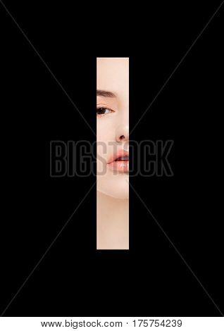 I letter beauty makeup girl creative fashion white font on black