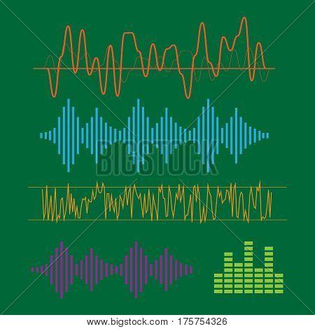 Color sound waves. Music technology digital design stereo equalizer. sound waves vector