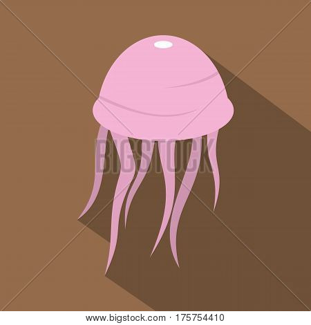 Pink jellyfish icon. Flat illustration of pink jellyfish vector icon for web isolated on coffee background