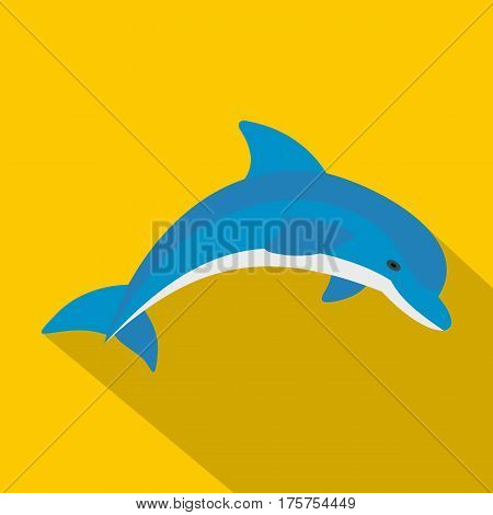Blue dolphin icon. Flat illustration of blue dolphin vector icon for web isolated on yellow background