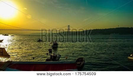 Distant View Of Bosphorus Bridge In Istanbul At Sunset