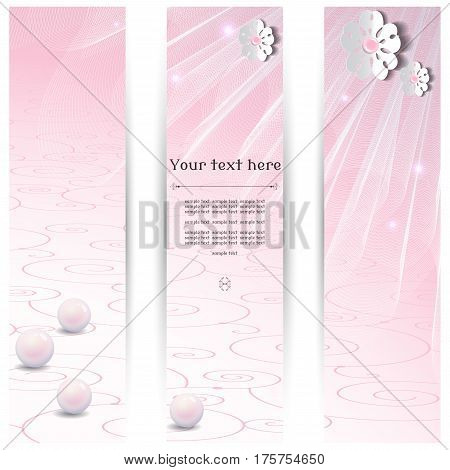 Vector design for abstract vertical banner. Flowers cut from paper. Transparent tulle and pearl beads. Place for your text