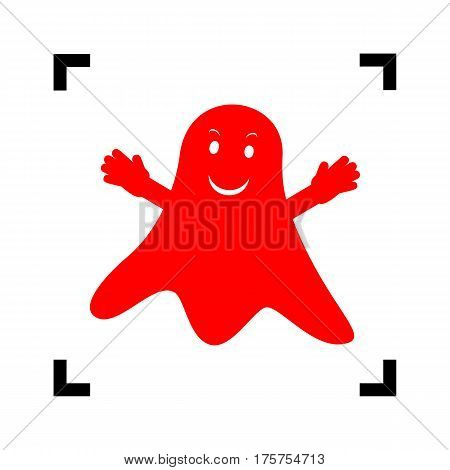 Ghost isolated sign. Vector. Red icon inside black focus corners on white background. Isolated.